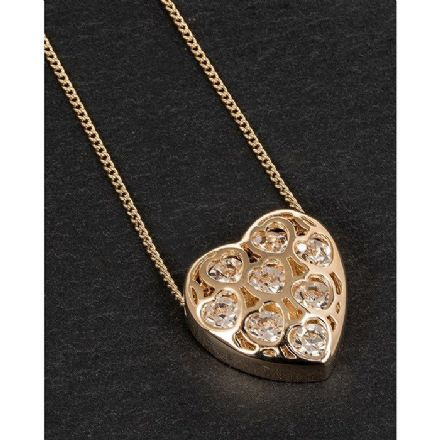 Gold Plated Filigree Crystal Heart Necklace